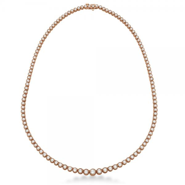 Milgrain Eternity Diamond Tennis Necklace 14k Rose Gold (7.05ct)