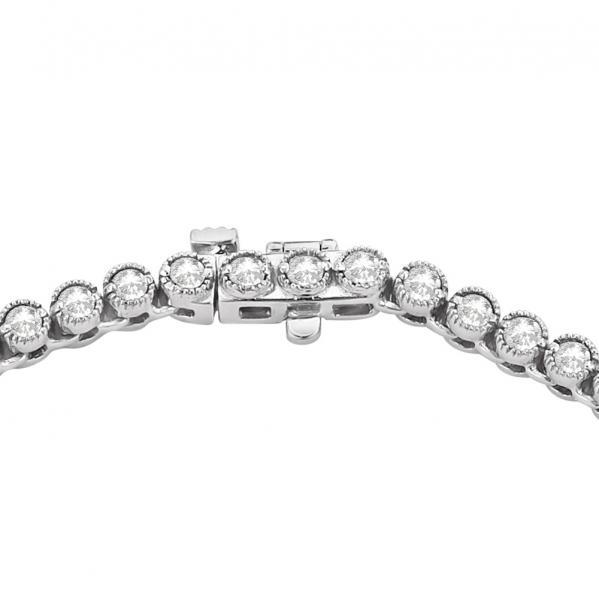 Milgrain Eternity Diamond Tennis Necklace 14k White Gold (7.05ct)