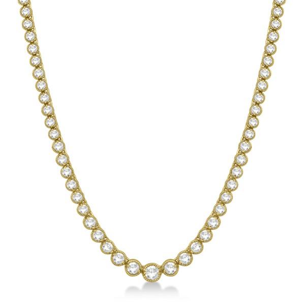 Milgrain Eternity Diamond Tennis Necklace 14k Yellow Gold (7.05ct)
