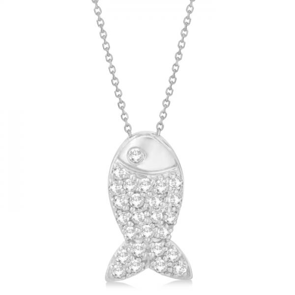 Fish Shaped Diamond Pendant Necklace Pave Set 14k White Gold (0.26ct)