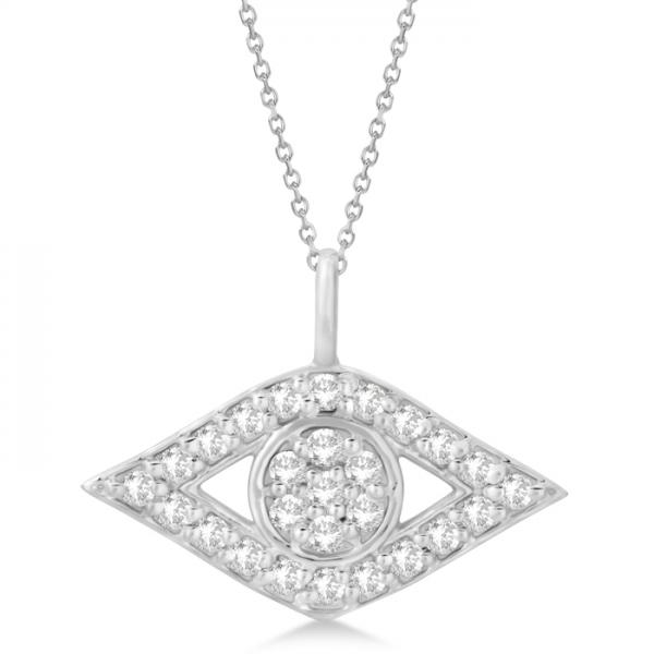 Evil Eye Diamond Pendant Necklace in 14k White Gold Pave Set (0.50ct)