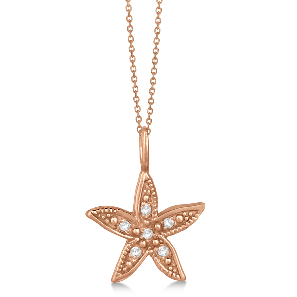 Diamond Accented Petite Starfish Pendant Necklace 14k Rose Gold (0.04ct)