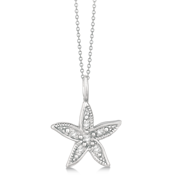 Diamond Accented Petite Starfish Pendant Necklace 14k Yellow Gold (0.04ct)