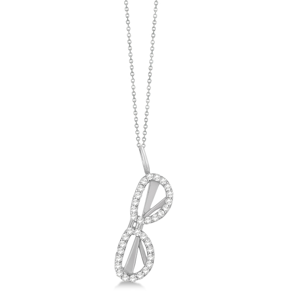 Diamond Accented Sunglasses Pendant Necklace 14k White Gold 0.25ct
