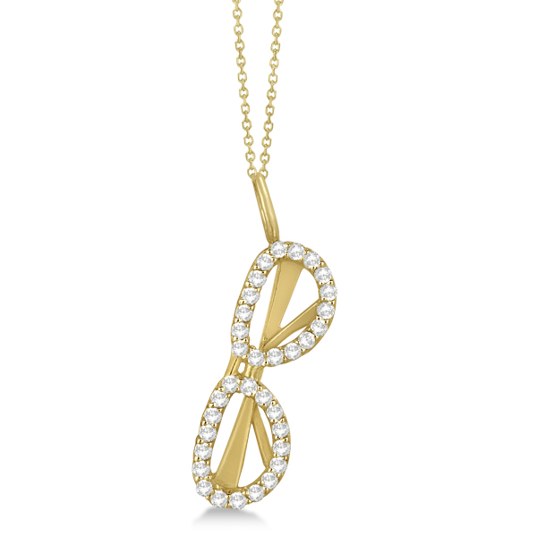 Diamond Accented Sunglasses Pendant Necklace in 14k Yellow Gold 0.25ct