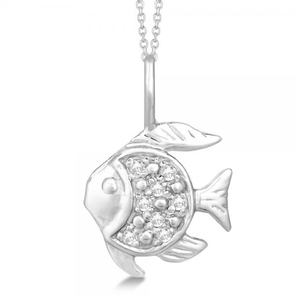 Pave Set Fish Shaped Diamond Pendant Necklace 14k White Gold 0.06ct