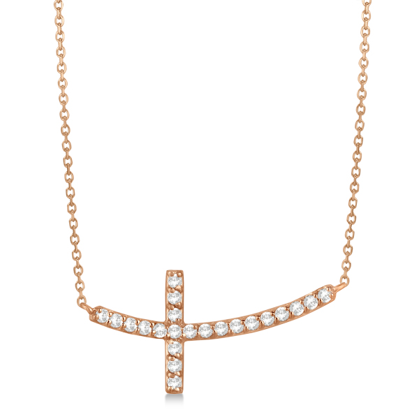 Diamond Sideways Curved Cross Pendant Necklace 14k Rose Gold 0.33 ct