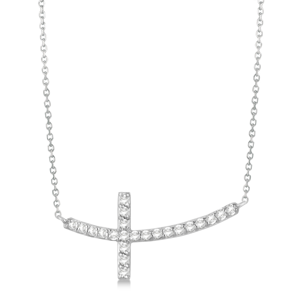 Diamond Sideways Curved Cross Pendant Necklace 14k White Gold 0.33 ct
