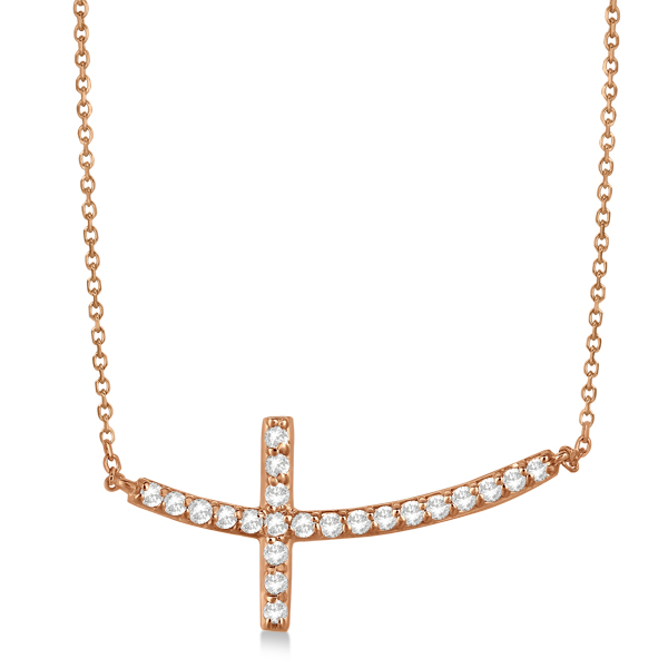Diamond Sideways Curved Cross Pendant Necklace 14k Rose Gold 0.50 ct