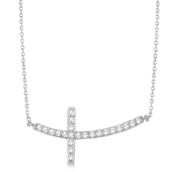 Diamond Sideways Curved Cross Pendant Necklace 14k White Gold 0.50ct