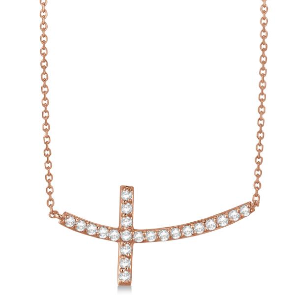 Diamond Sideways Curved Cross Pendant Necklace 14k Rose Gold 0.75 ct