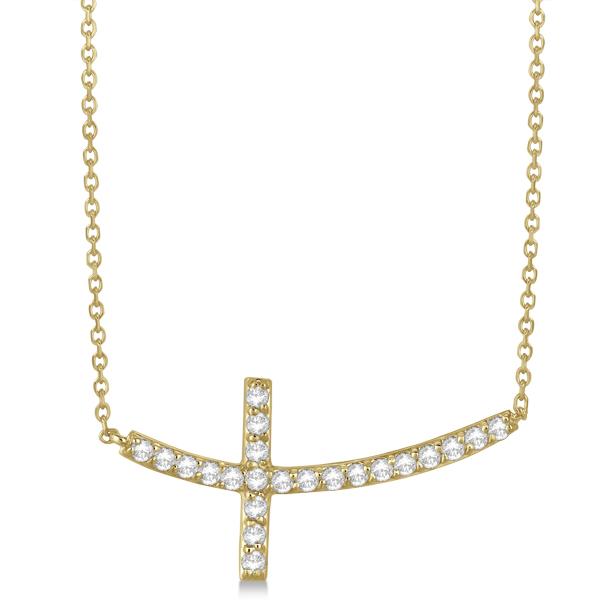 Sideways Curved Cross Necklace: Diamond Sideways Curved Cross Pendant Necklace 14k Yellow