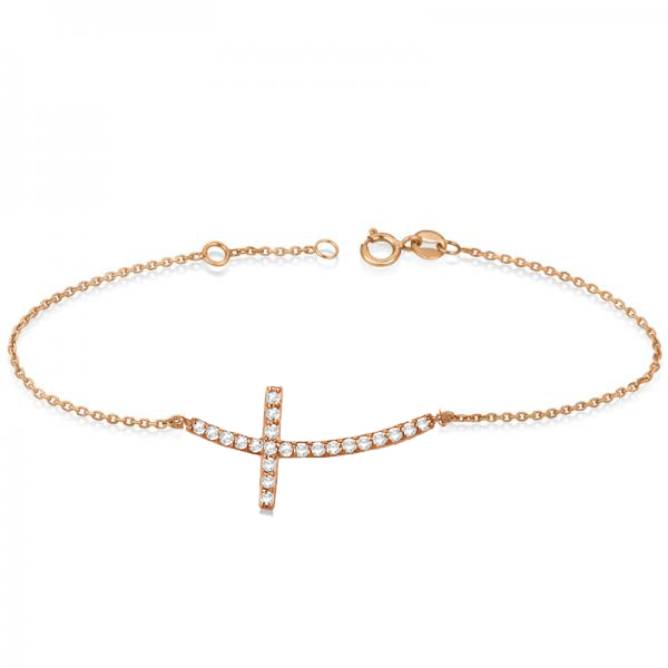 Diamond Sideways Curved Cross Ankle Bracelet 14k Rose Gold (0.50ct)