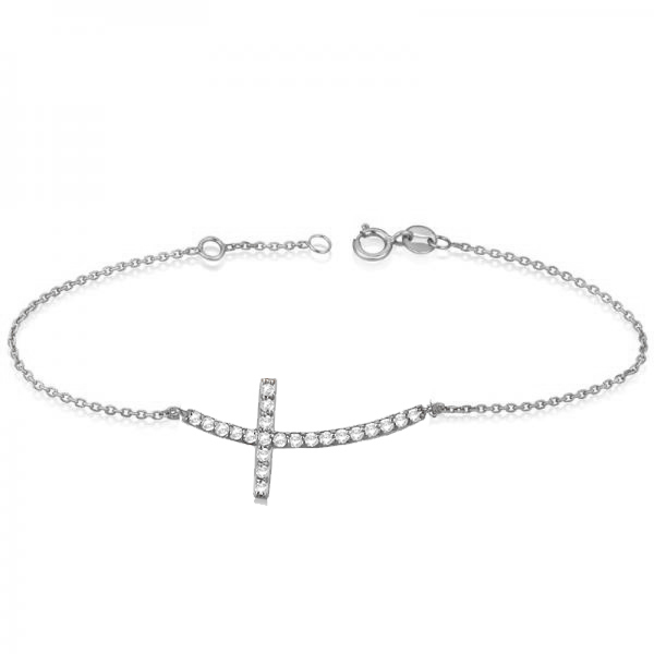 Diamond Sideways Curved Cross Ankle Bracelet 14k White Gold 0 50ct