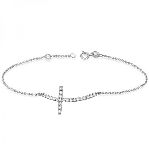 Diamond Sideways Curved Cross Chain Bracelet 14k White Gold (0.50ct)