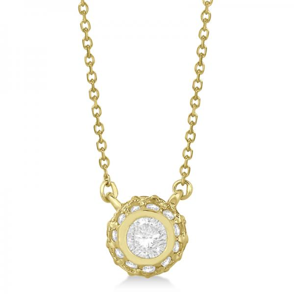 Vintage Bezel Halo Diamond Pendant Necklace 14k Yellow Gold (0.50cts)
