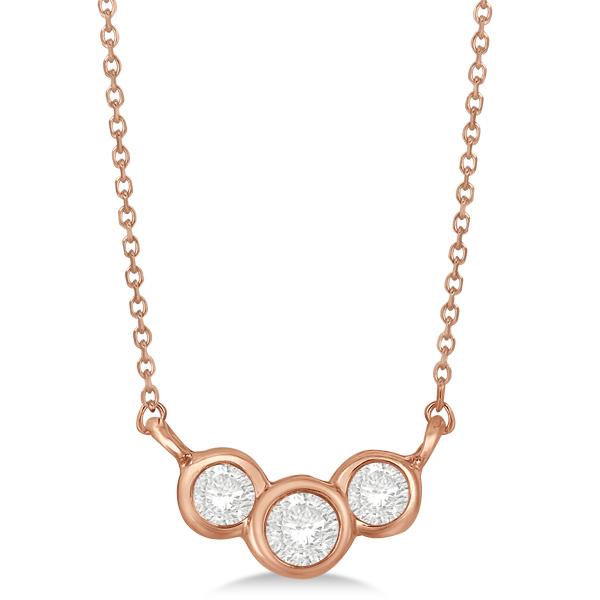 Three Stone Bezel Set Diamond Pendant Necklace 14k Rose Gold 0.25 ct