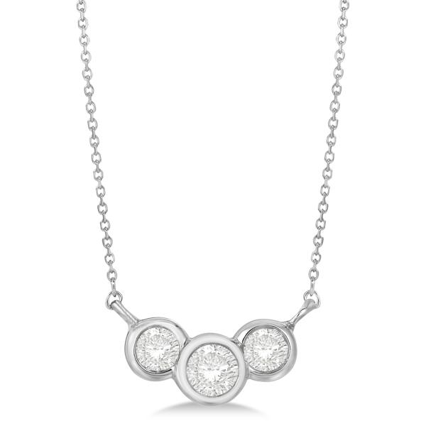 Three Stone Bezel Set Diamond Pendant Necklace 14k White Gold 0.50 ct