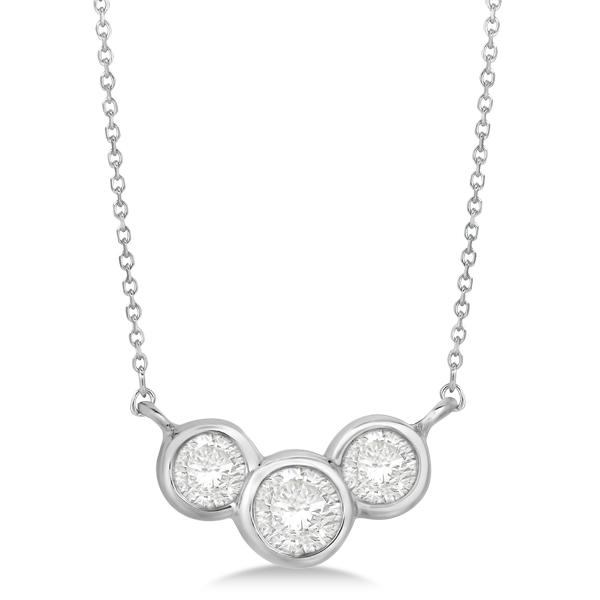 Three stone bezel set diamond pendant necklace 14k white gold 075 ct aloadofball Choice Image