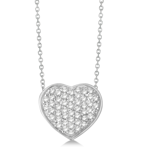 Pave Set Diamond Puffed Heart Pendant Necklace 14k White Gold 0.75ct