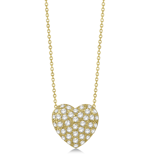 Puffed Heart Diamond Pendant Necklace Pave Set 14k Yellow Gold 1.04ct