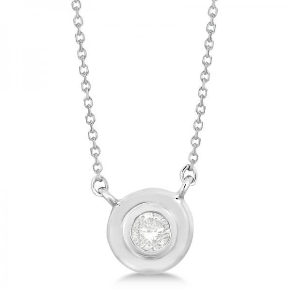 Simple Diamond Solitaire Bezel Pendant Necklace 14k White Gold (0.10ct)