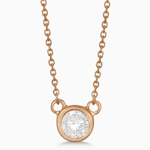 Round-Cut Bezel Diamond Solitaire Pendant in 14k Rose Gold (0.25ct)
