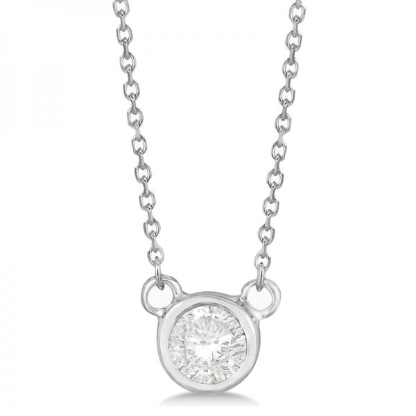 Round-Cut Bezel Diamond Solitaire Pendant in 14k White Gold (0.25ct)