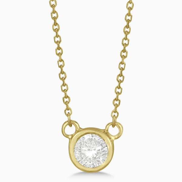 Round-Cut Bezel Diamond Solitaire Pendant in 14k Yellow Gold (0.25ct)