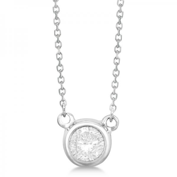 Round Diamond Solitaire Bezel-Setting Pendant 14k White Gold (0.35ct)