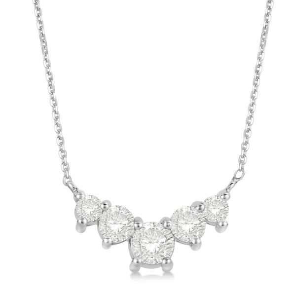 Five Stone Diamond Necklace Prong Set 14k White Gold 1.55ct