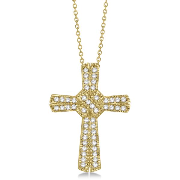 Antique Style Diamond Roman Cross Pendant in 14k Yellow Gold (0.62ct)