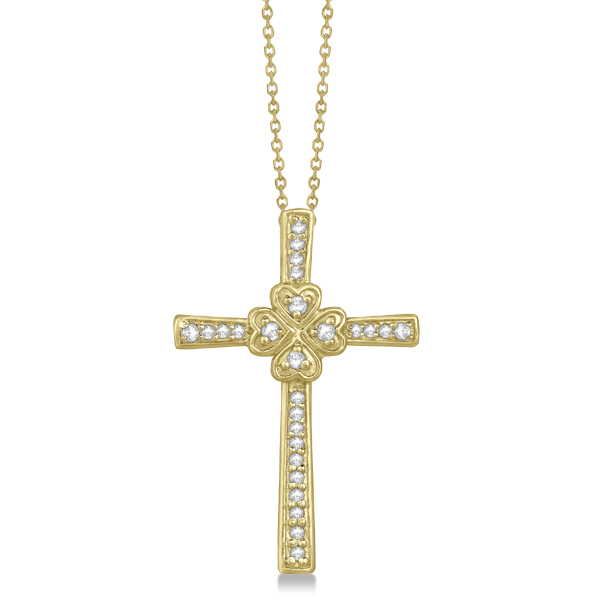 Hearts On Cross Diamond Pendant Necklace in 14k Yellow Gold (0.39ct)