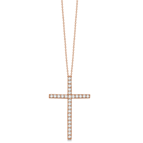 Classic Diamond Cross Pendant Necklace in 14k Rose Gold (1.54 ct)