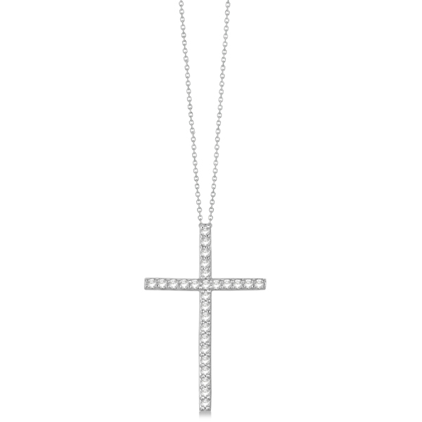 Classic Diamond Cross Pendant Necklace in 14k White Gold (1.54 ct)