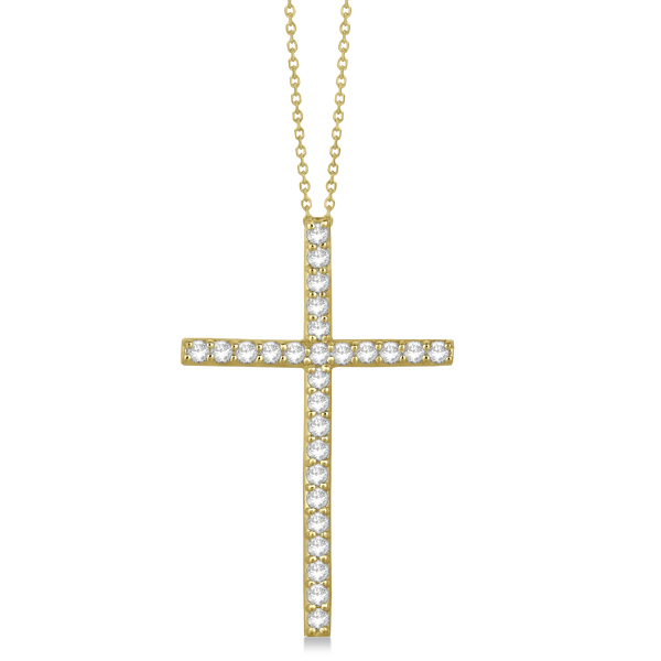 Classic Diamond Cross Pendant Necklace in 14k Yellow Gold (1.54 ct)