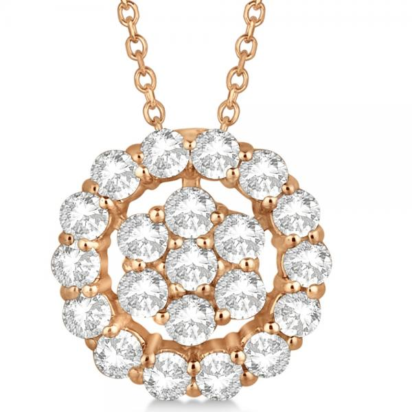 Diamond Halo & Cluster Pendant Necklace Pave Set 14k Rose Gold 1.00ct