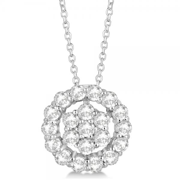 Diamond Halo & Cluster Pendant Necklace Pave Set 14k White Gold 0.33ct
