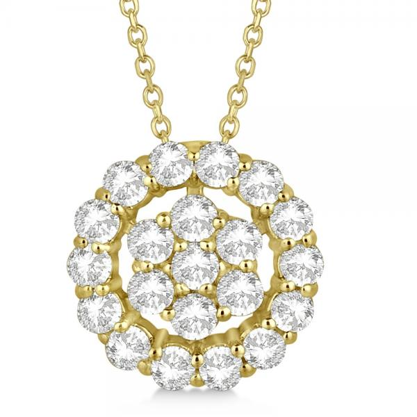 Pave Diamond Halo & Cluster Pendant Necklace 14k Yellow Gold 0.75ct
