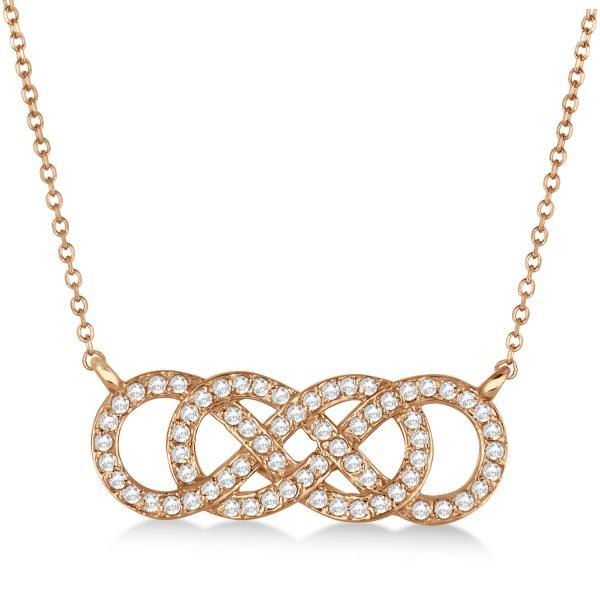 Multiple Infinity Diamond Pendant Necklace 14k Rose Gold 0.34ct.