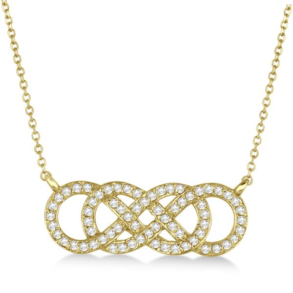 Multiple Infinity Diamond Pendant Necklace 14k Yellow Gold 0.34ct.