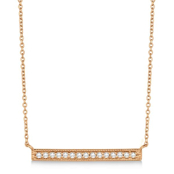Pave Set Horizontal Diamond Bar Necklace 14k Rose Gold 0.15ct