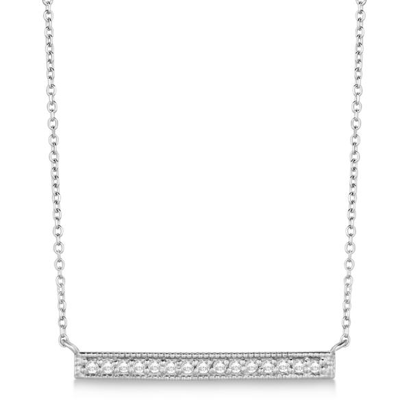 Pave Set Horizontal Diamond Bar Necklace 14k White Gold 0.15ct