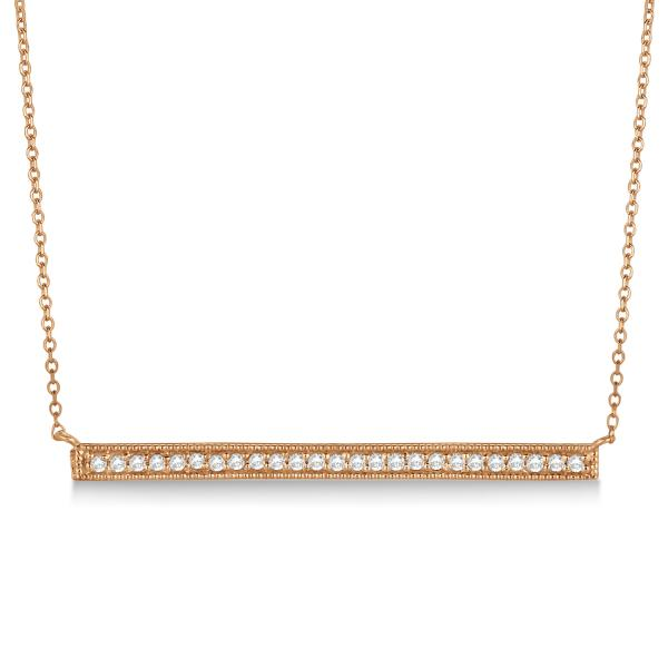 Pave Set Horizontal Diamond Bar Necklace 14k Rose Gold 0.25ct