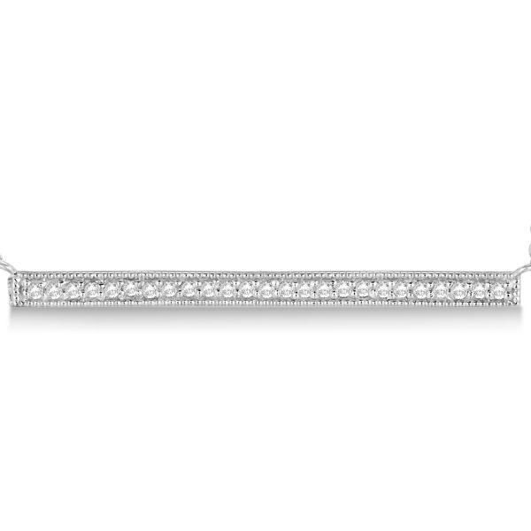 Pave Set Horizontal Diamond Bar Necklace 14k White Gold 0.25ct