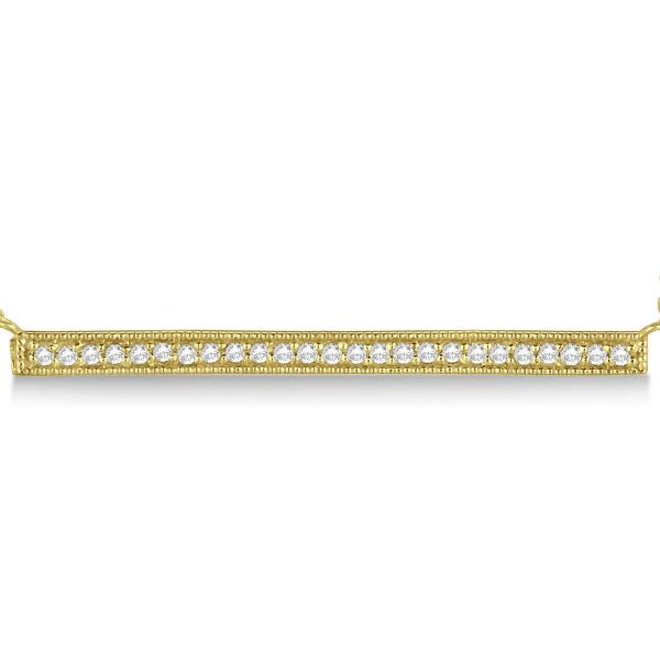 Pave Set Horizontal Diamond Bar Necklace 14k Yellow Gold 0.25ct