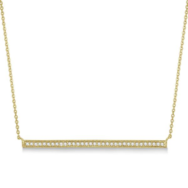 Pave Set Horizontal Diamond Bar Necklace 14k Yellow Gold 0.33ct