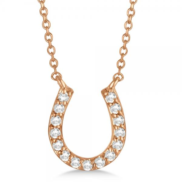 Pave Set Diamond Horseshoe Pendant Necklace 14k Rose Gold 0.15ct