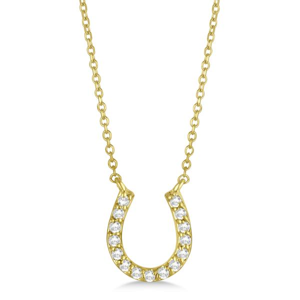 Pave Set Diamond Horseshoe Pendant Necklace 14k Yellow Gold 0.15ct