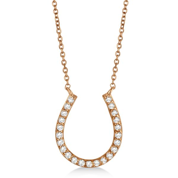 Pave Set Diamond Horseshoe Pendant Necklace 14k Rose Gold 0.20ct